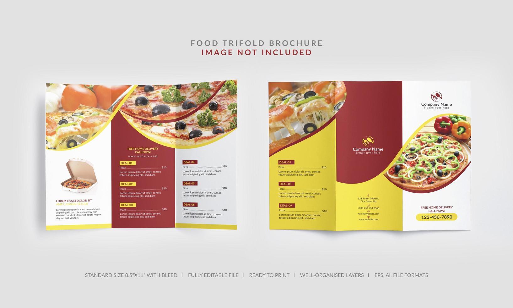brochure a tre ante per menu alimentare vettore