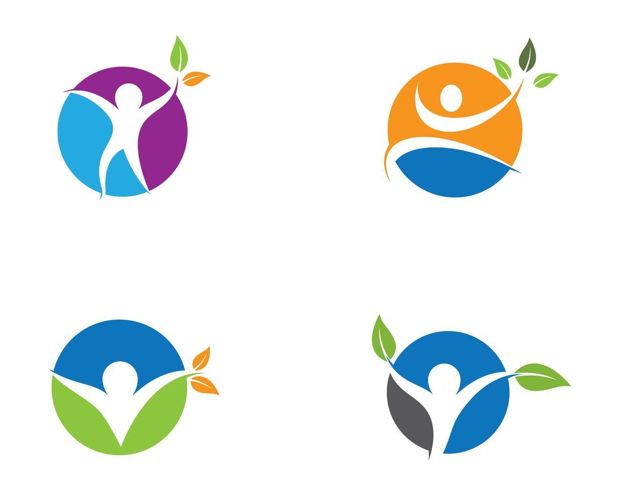 simbolo di salute umana viola, blu, arancione, verde vettore