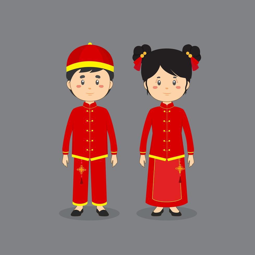 personaggio di coppia che indossa abiti tradizionali cinesi vettore