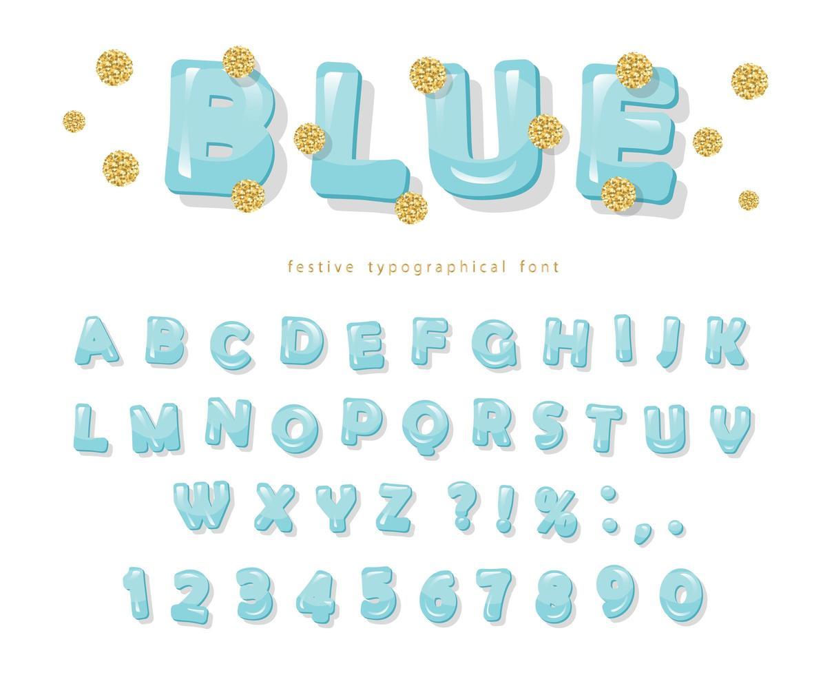 carattere blu lucido con puntini glitterati vettore