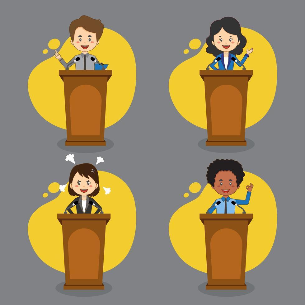un gruppo di uomini d'affari parla sul podio vettore