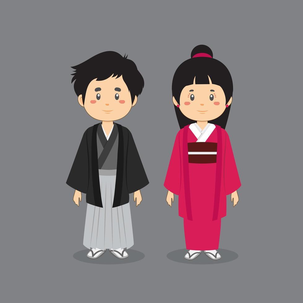 carattere giapponese coppia indossa il tradizionale kimono vettore