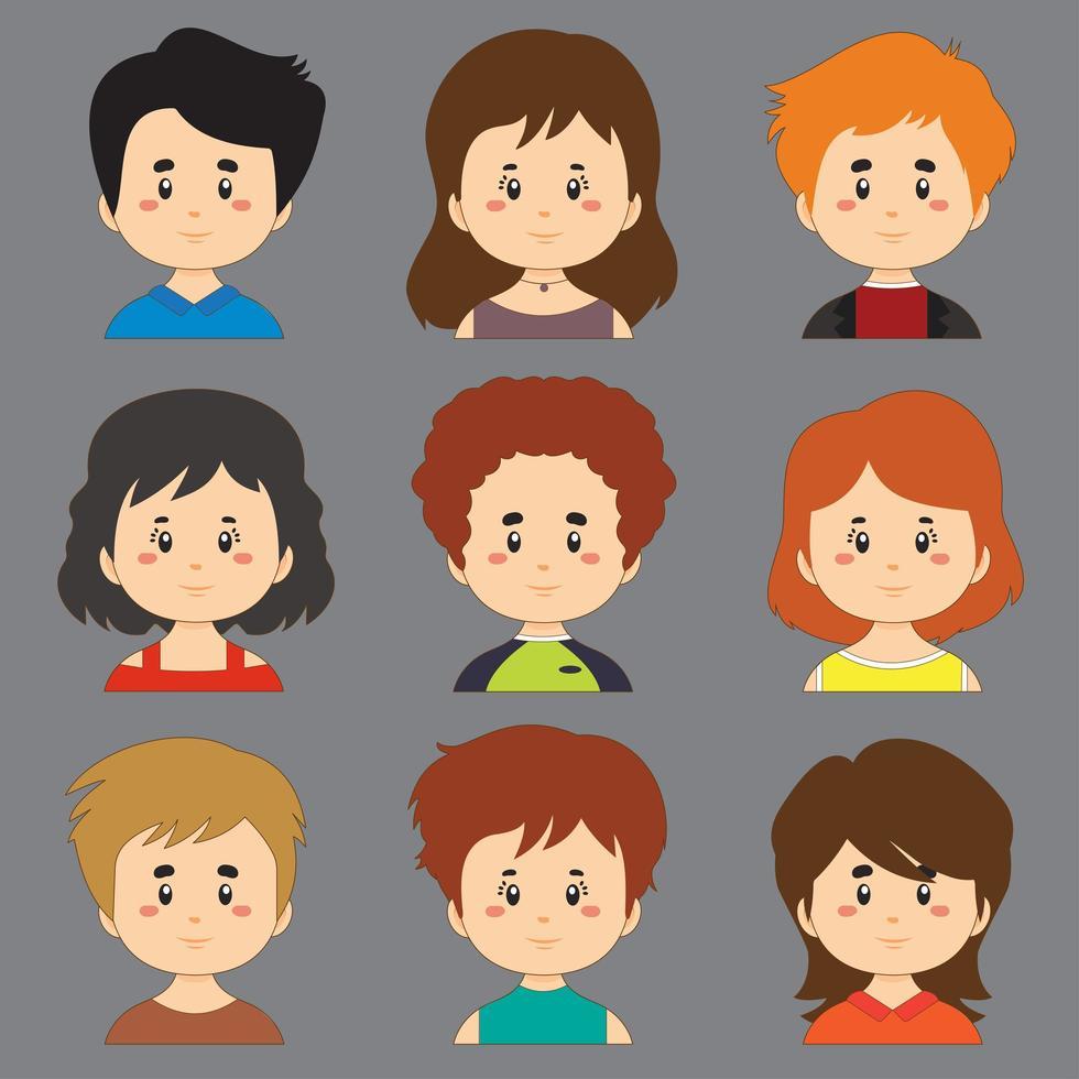 raccolta di personaggi avatar con diversi capelli e pelle vettore