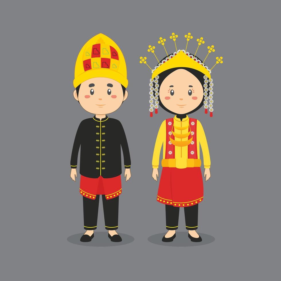 personaggio di coppia che indossa un abito tradizionale asso vettore