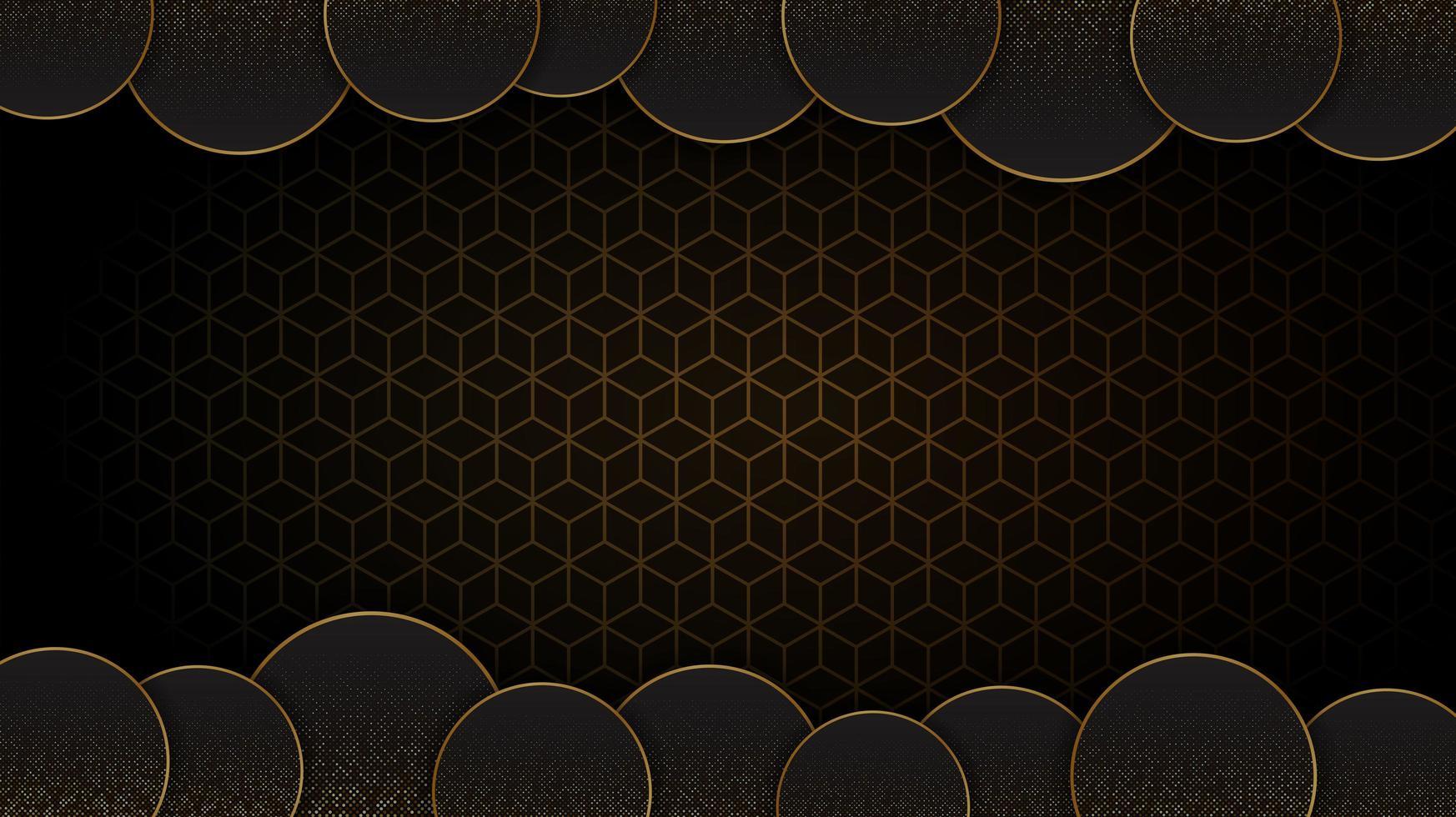 sfondo astratto circolare nero e oro vettore