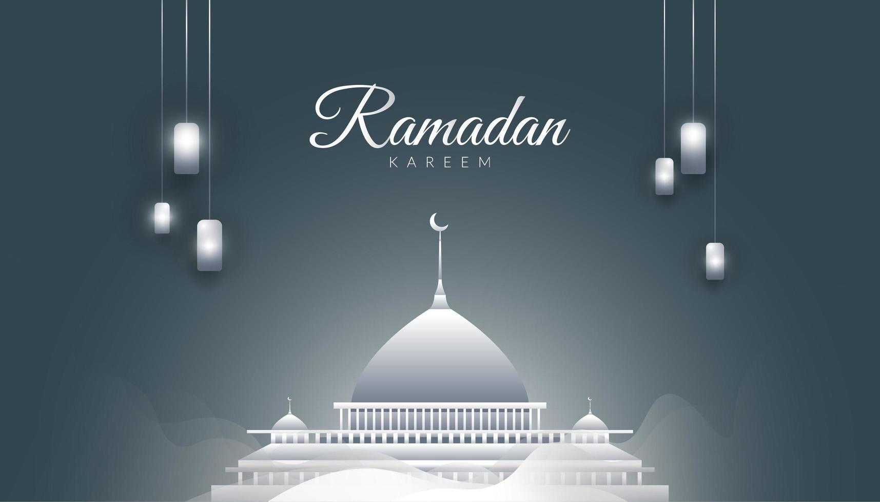sfondo grigio ramadan kareem vettore