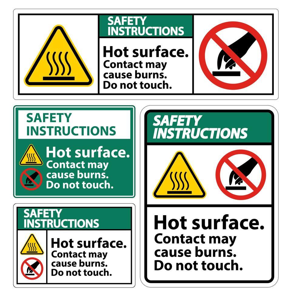 la superficie calda di sicurezza non tocca il set di simboli vettore