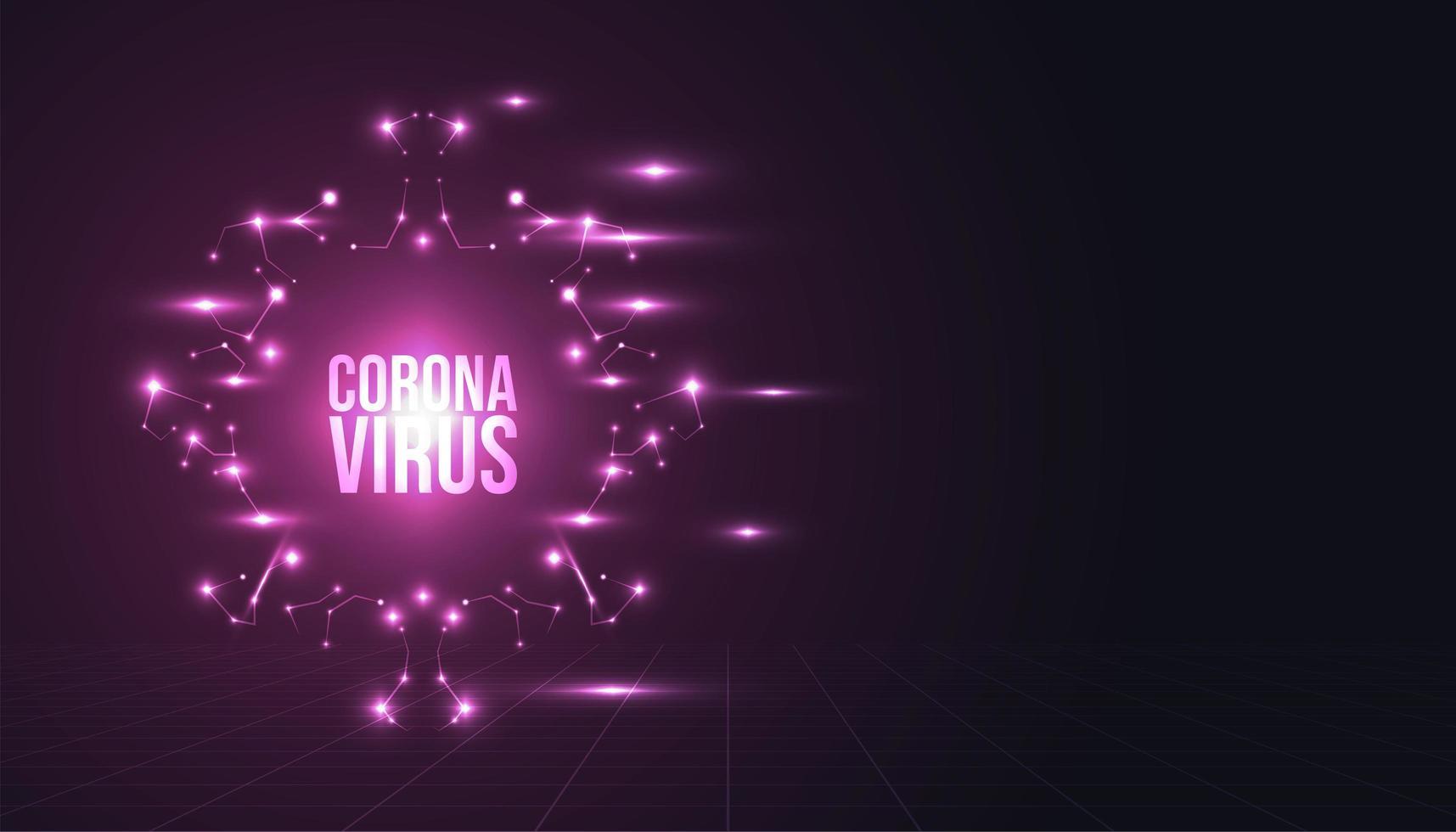 sfondo di coronavirus incandescente vettore