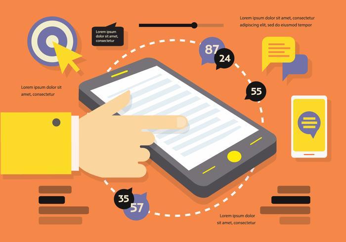 Fondo di vettore Marketing piatto digitale con Smart Phone Touch Screen