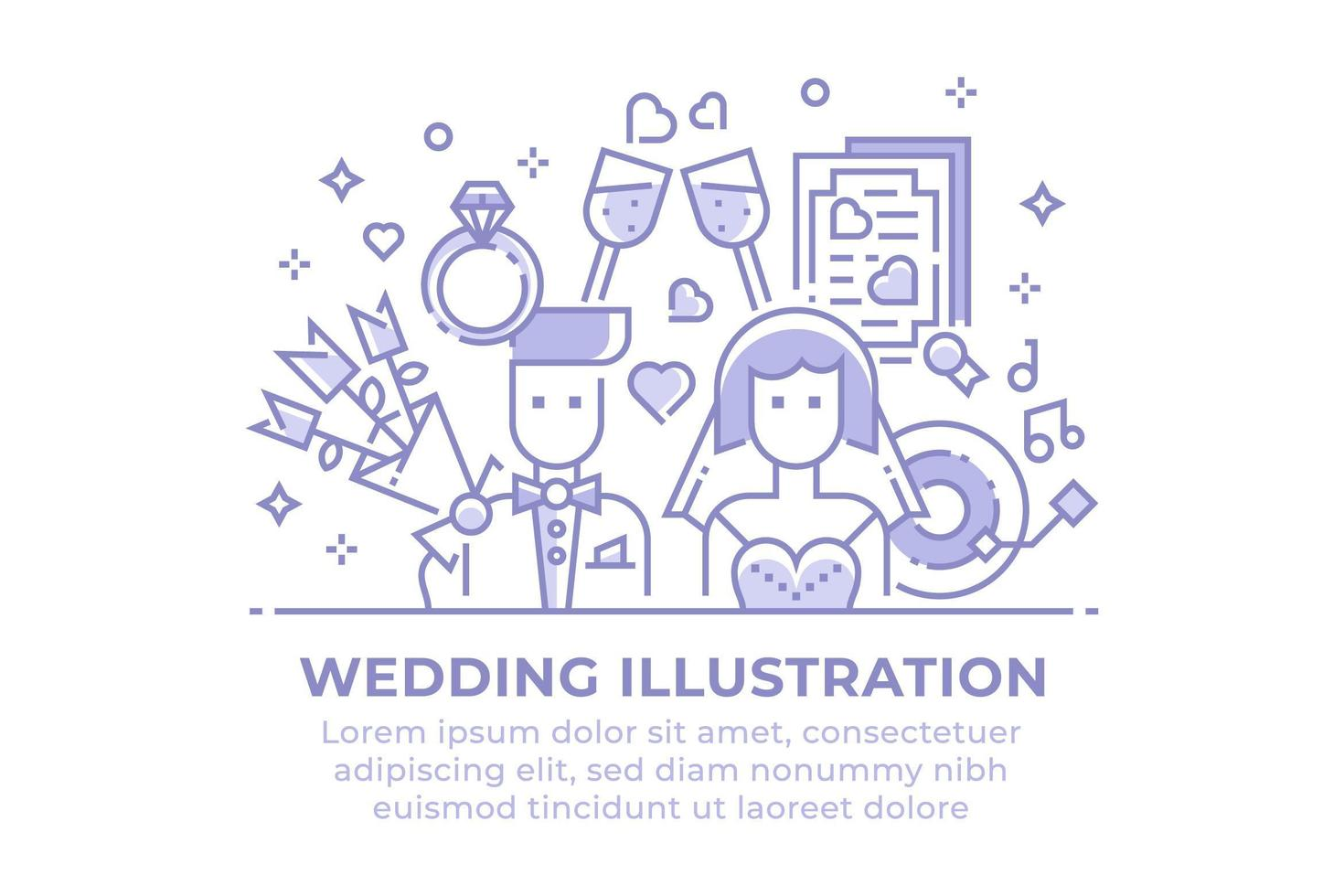 illustrazione lineare di nozze vettore