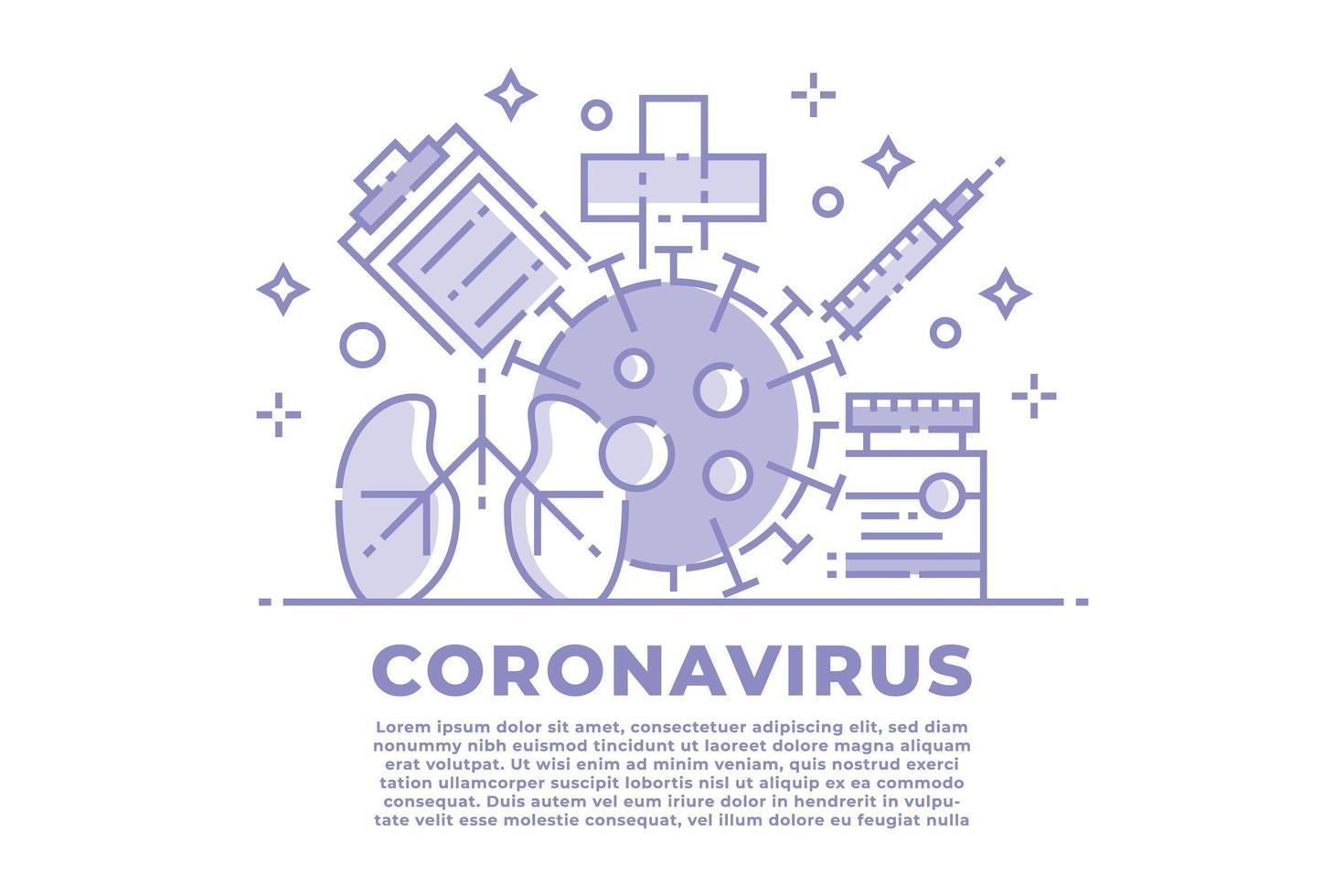 coronavirus viola e bianco illustrazione lineare vettore