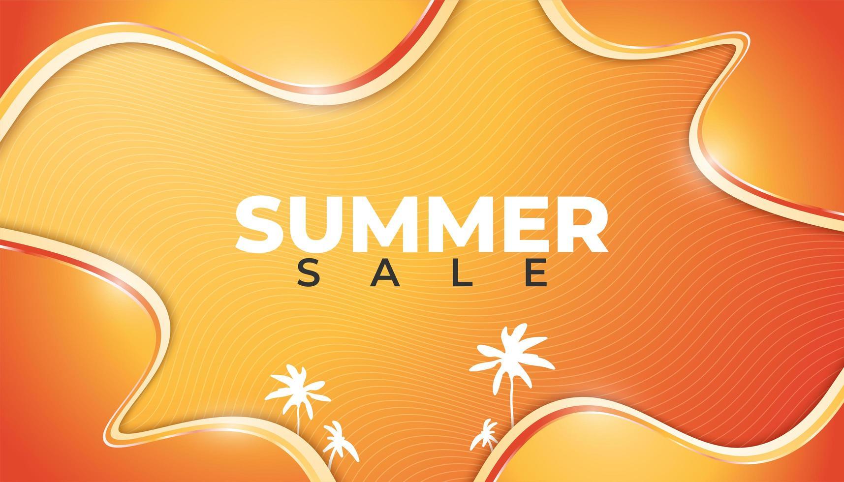 banner di vendita estiva di design ondulato sfumato arancione incandescente vettore