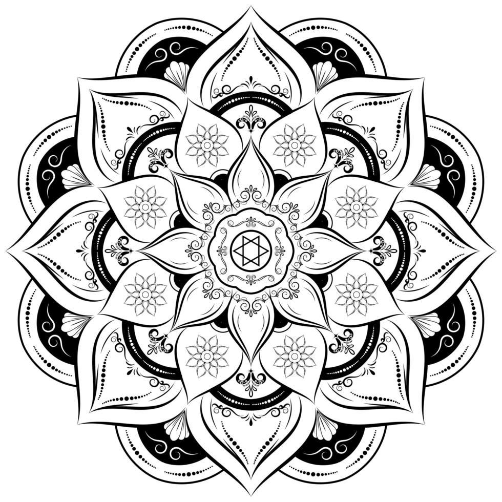 fiore mandala cerchio bianco e nero vettore