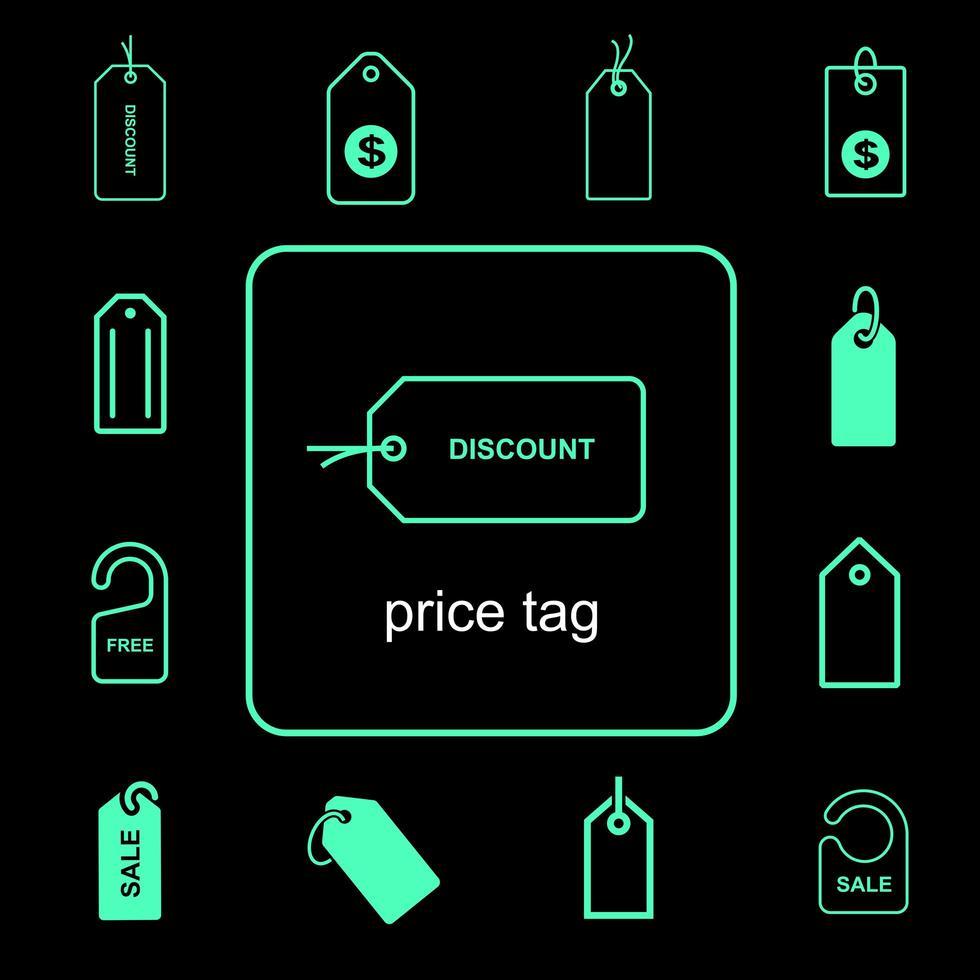 set di icone semplice cartellino del prezzo vettore