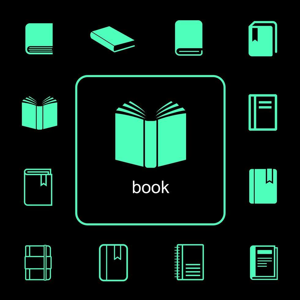 set di icone del libro semplice e diversificato vettore