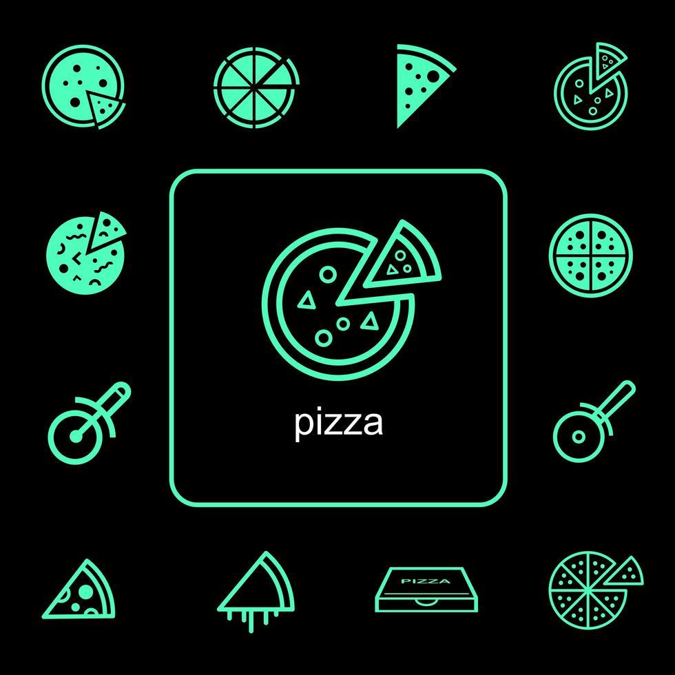 set di icone di consegna cibo pizza vettore