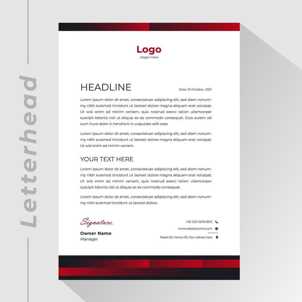 carta intestata aziendale con bordi sfumati rossi e neri vettore