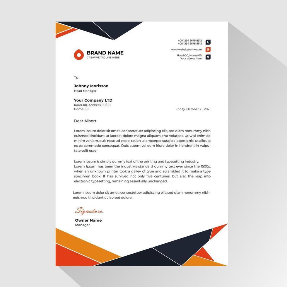 carta intestata aziendale con poligoni arancioni e neri vettore