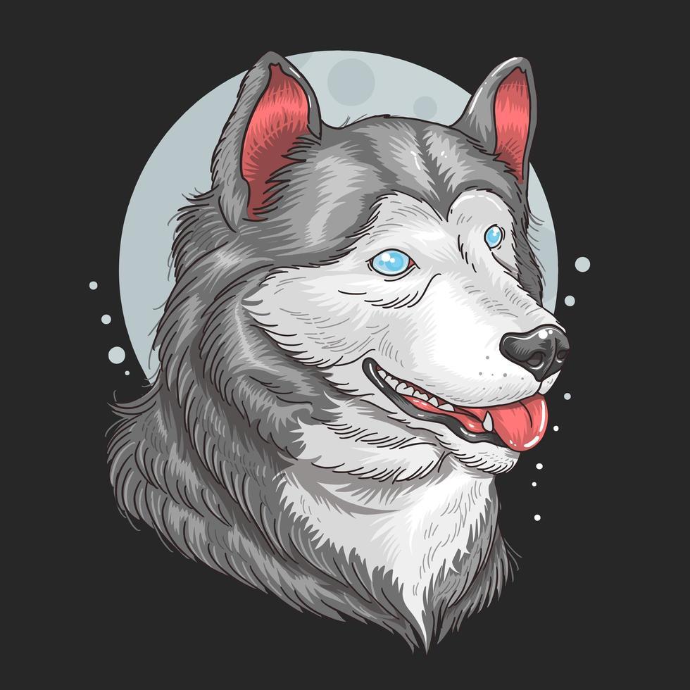 husky siberiano testa sopra la luna vettore
