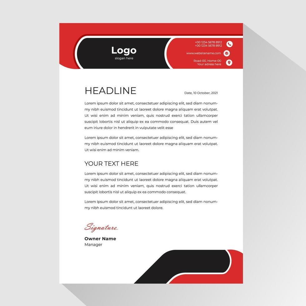 carta intestata aziendale con forme arrotondate nere e rosse vettore