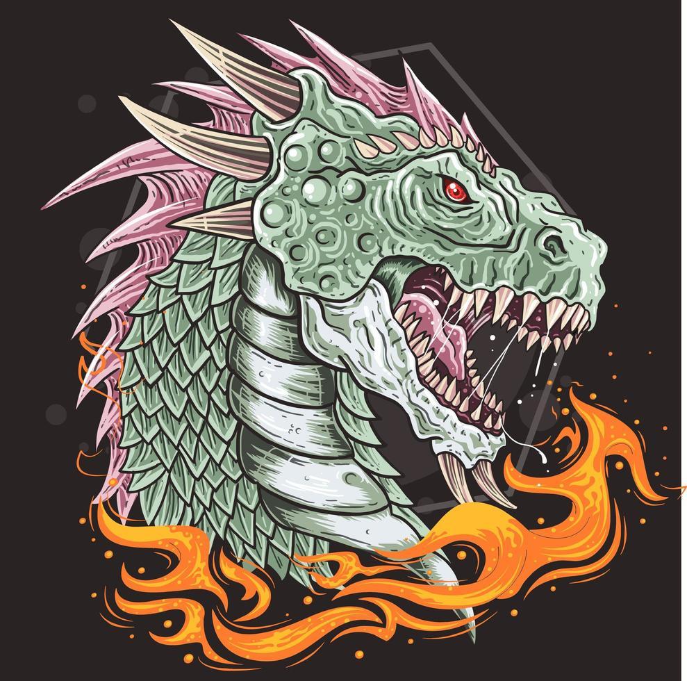 testa di drago con la bocca aperta e fiamme sotto vettore