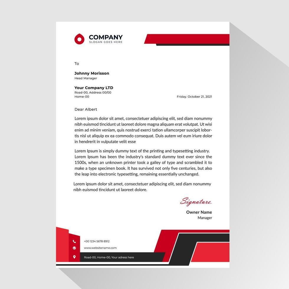 carta intestata commerciale con accenti angolati rossi e neri vettore