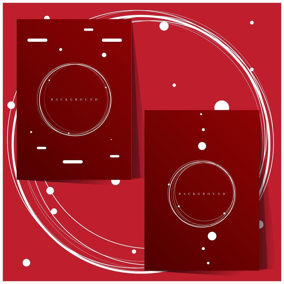 cerchi bianchi su set di sfondo rosso vettore