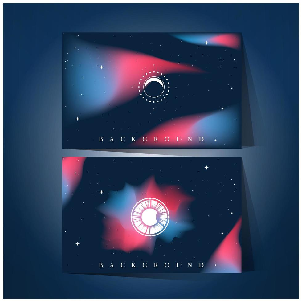 set di sfondo galattico rosa e blu vettore