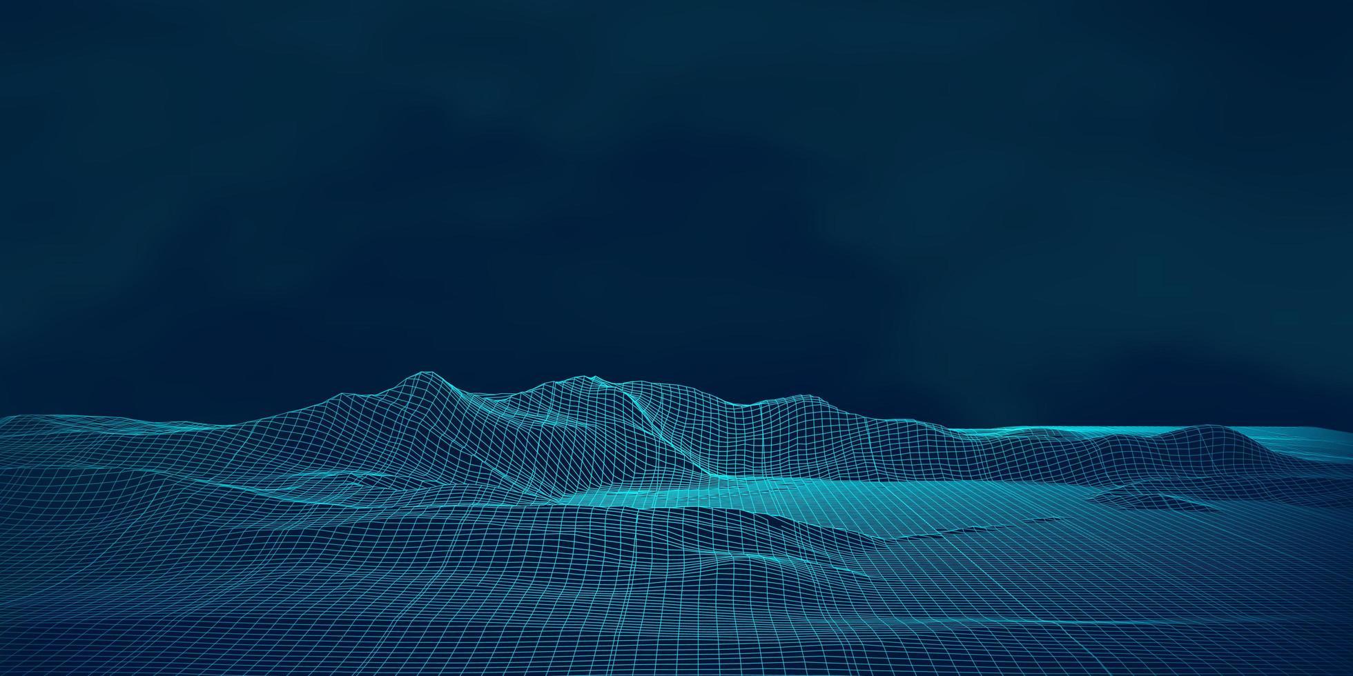paesaggio digitale wireframe techno vettore