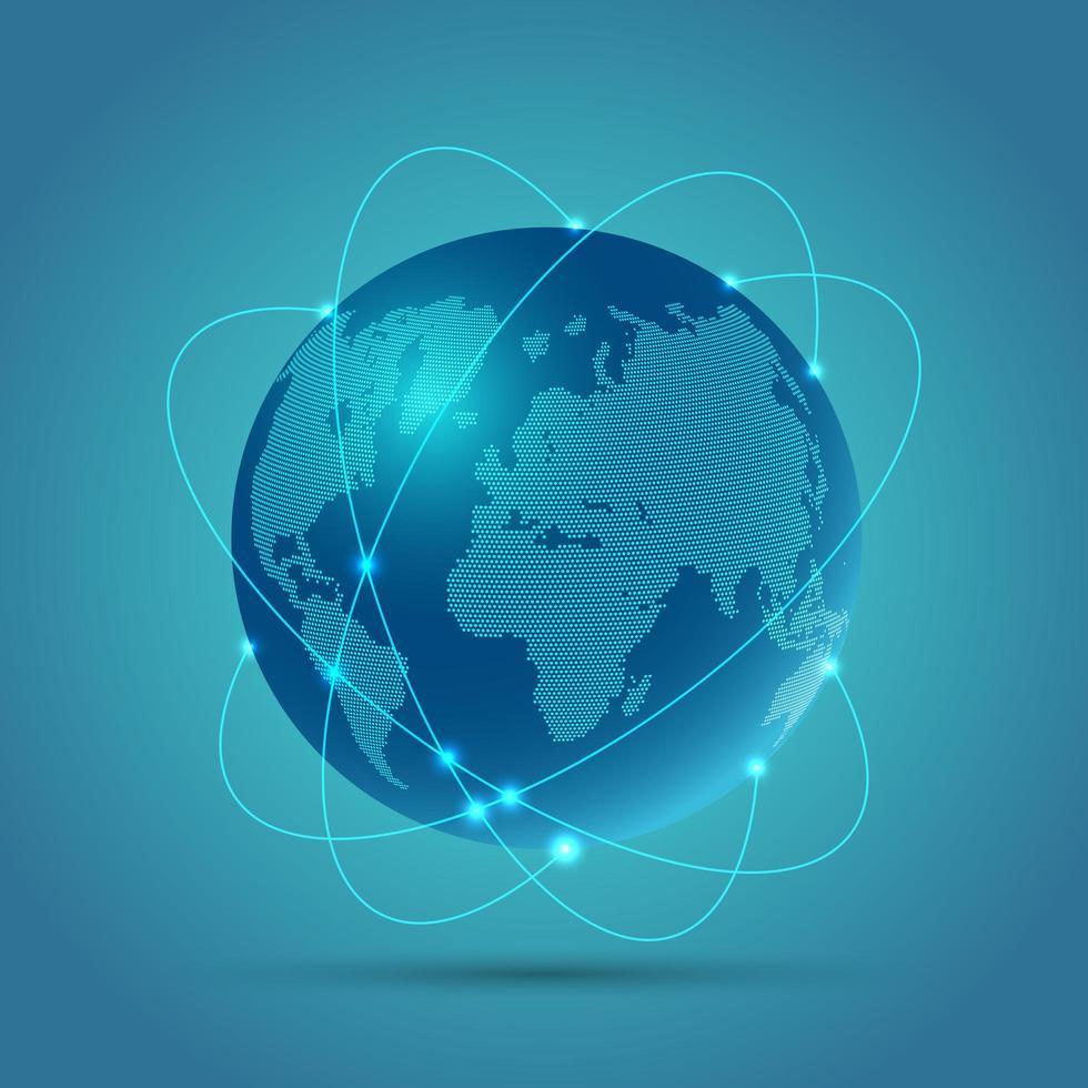 globo di comunicazione di rete incandescente vettore