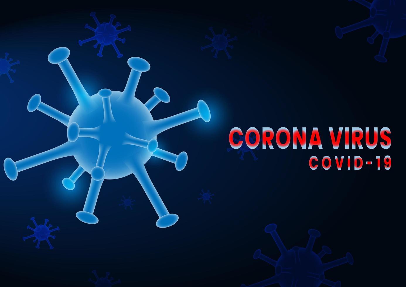 coronavirus covid-2019 su sfondo blu scuro vettore