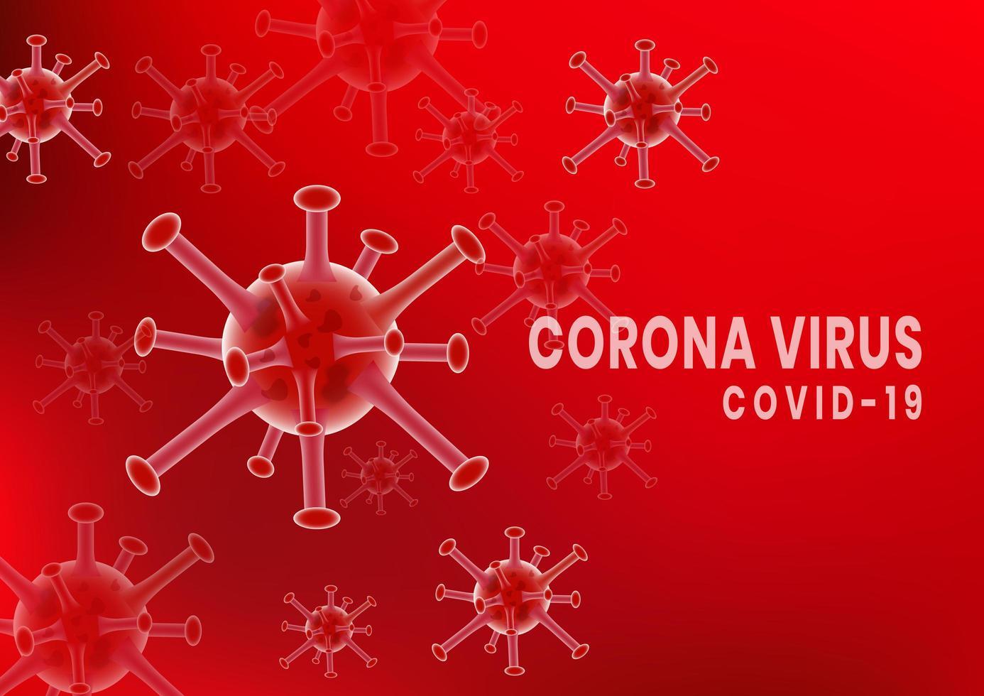 poster di cellule germinali rosso coronavirus covid-2019 vettore