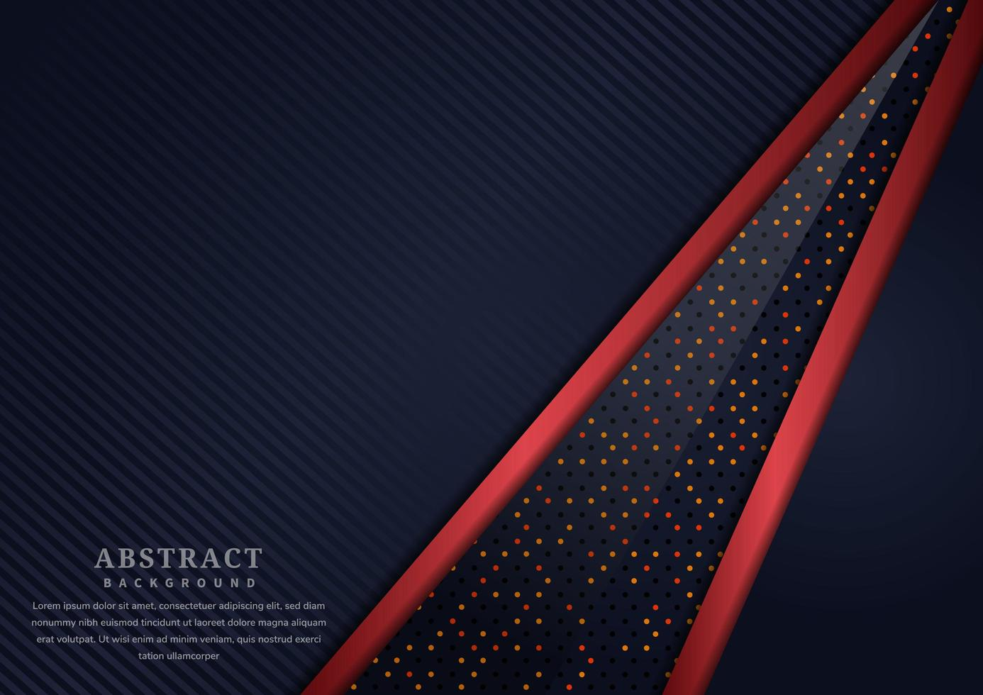 strato sovrapposto nero diagonale astratto con sfondo bordo rosso vettore