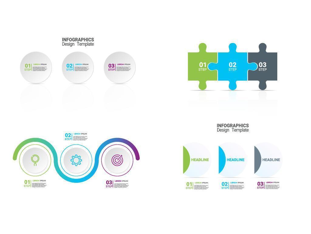 set infografica luminoso con cerchi e pezzi del puzzle vettore