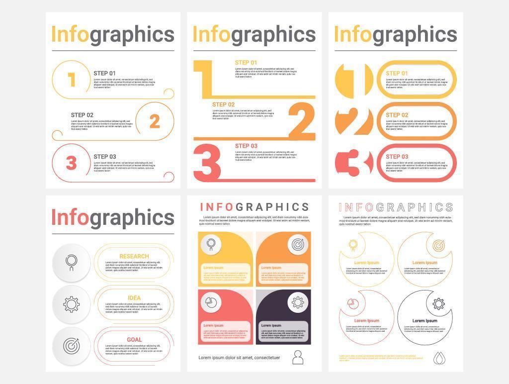 moderno set di infografica a 3 e 4 passaggi vettore
