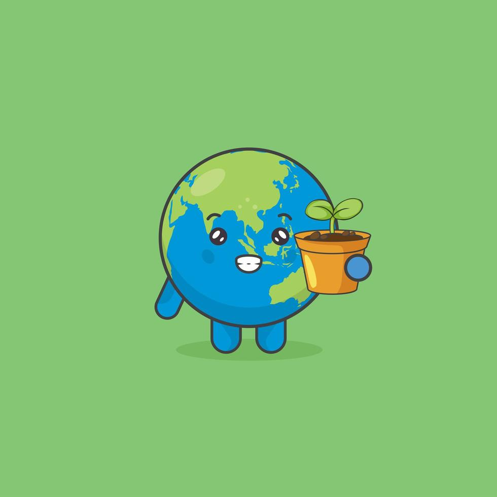 simpatico personaggio di terra in possesso di una pianta ad albero vettore