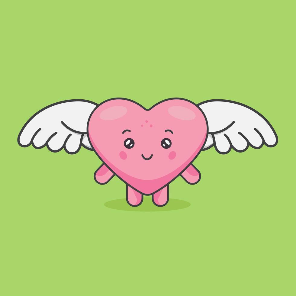 simpatico cuore rosa alato vettore