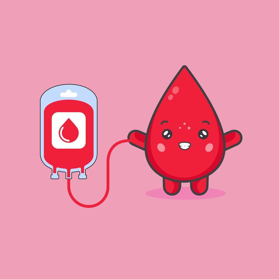 simpatico personaggio di sangue e concetto di donazione di sangue vettore