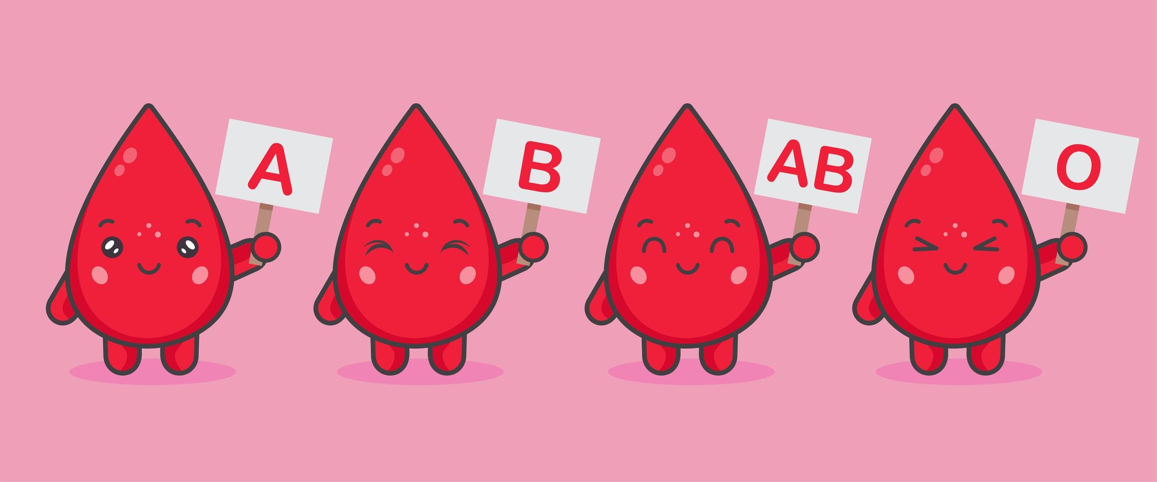simpatici personaggi di sangue tengono assi con gruppi sanguigni vettore
