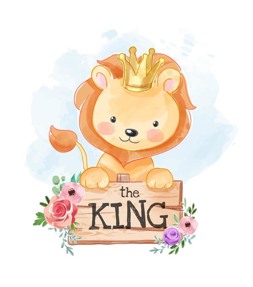 leone cartone animato con cartello in legno con fiori vettore