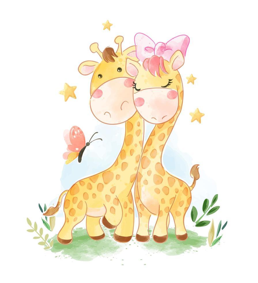 cartoon giraffe couple and butterfly vettore