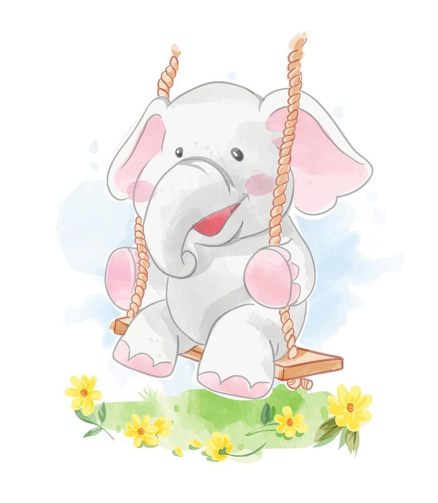 elefante del fumetto su oscillazione di legno vettore