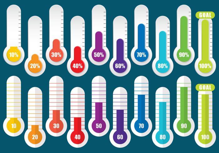 Termometri per obiettivi colorati vettore