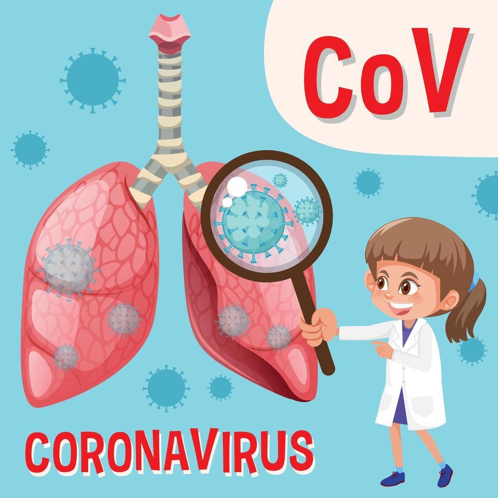 diagramma che mostra il coronavirus con la lente d'ingrandimento della holding del medico vettore