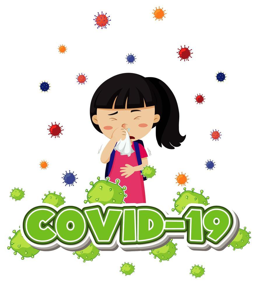 covid-19 con una ragazza malata che tiene il tessuto vettore