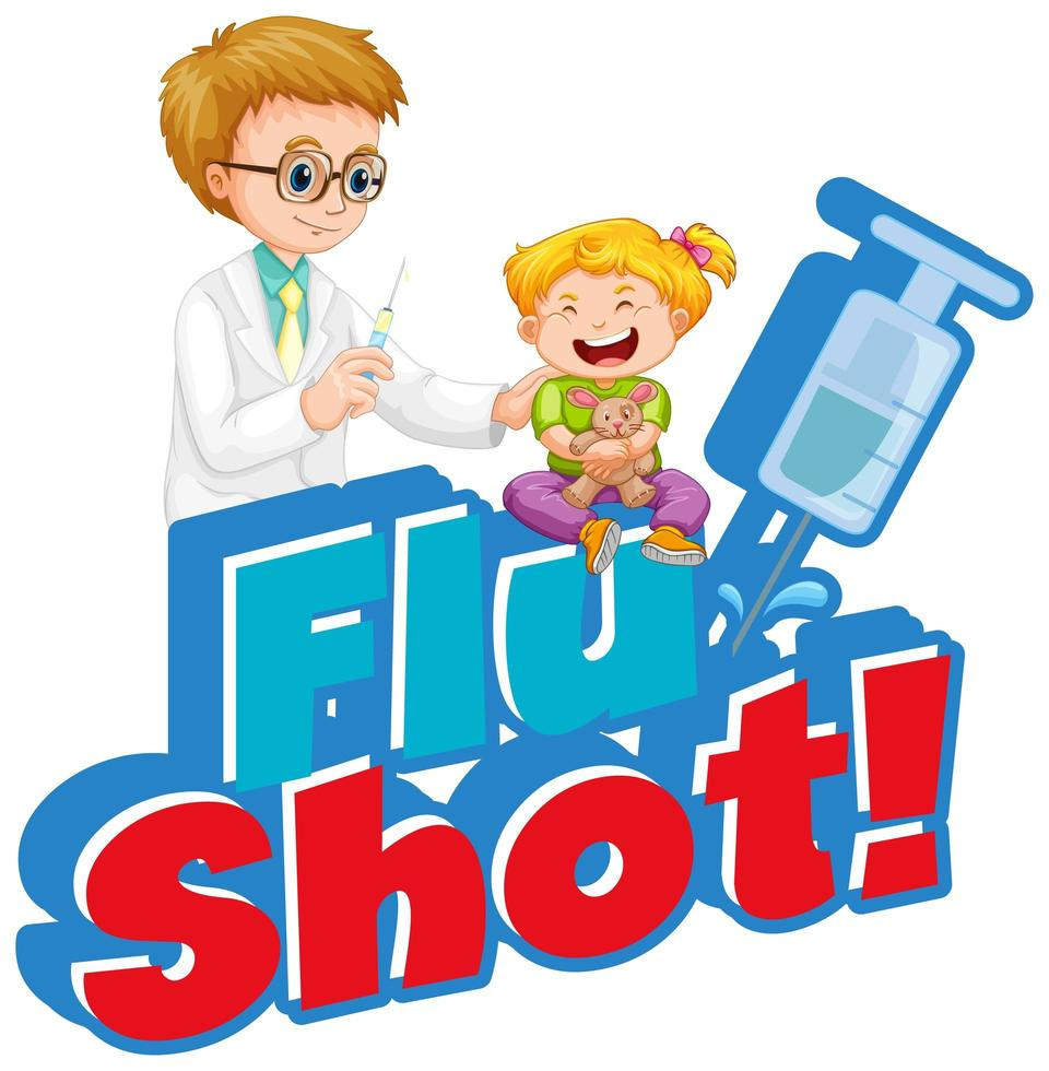 poster di vaccino antinfluenzale con medico e bambina vettore