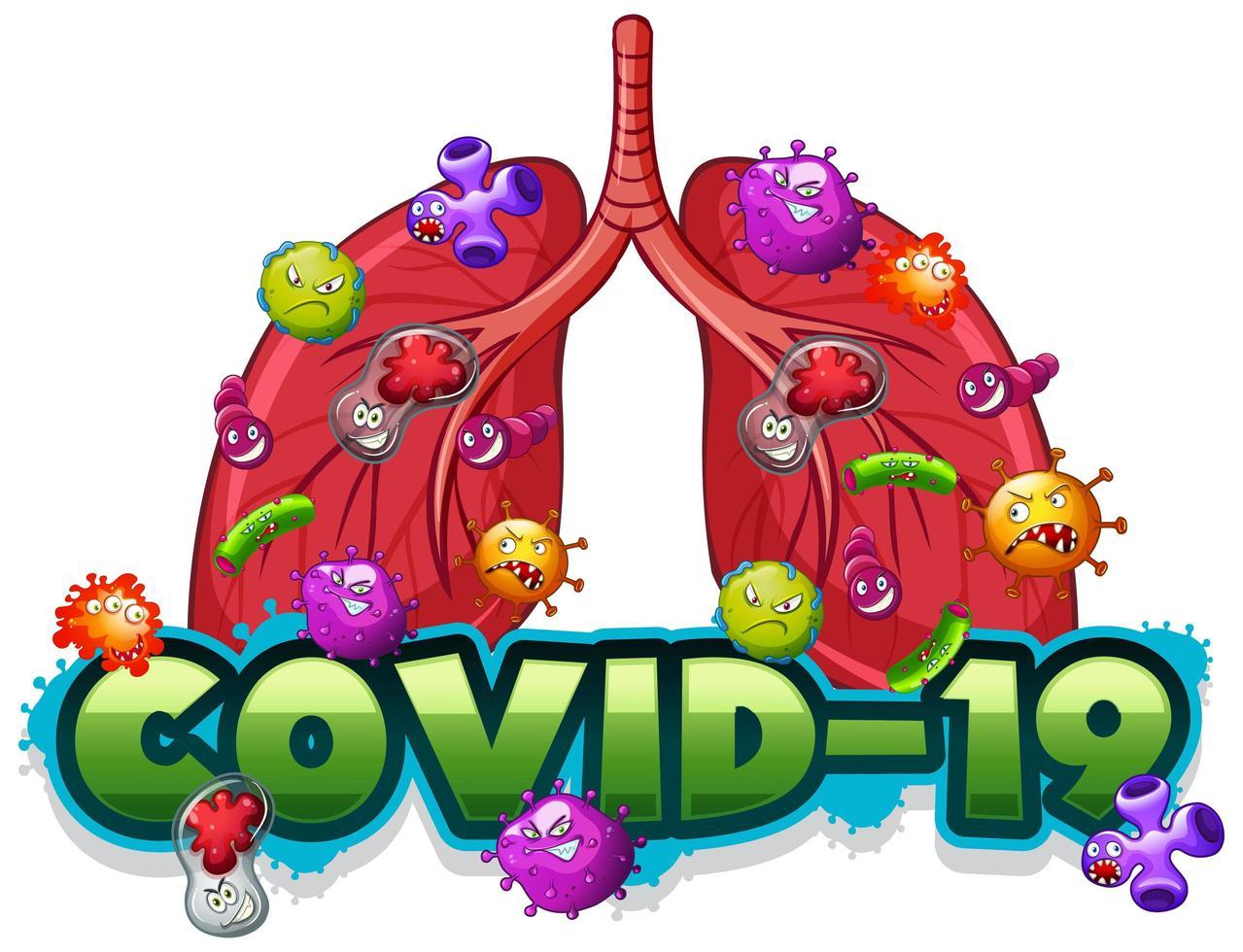 modello di segno covid 19 con polmoni umani pieni di virus vettore