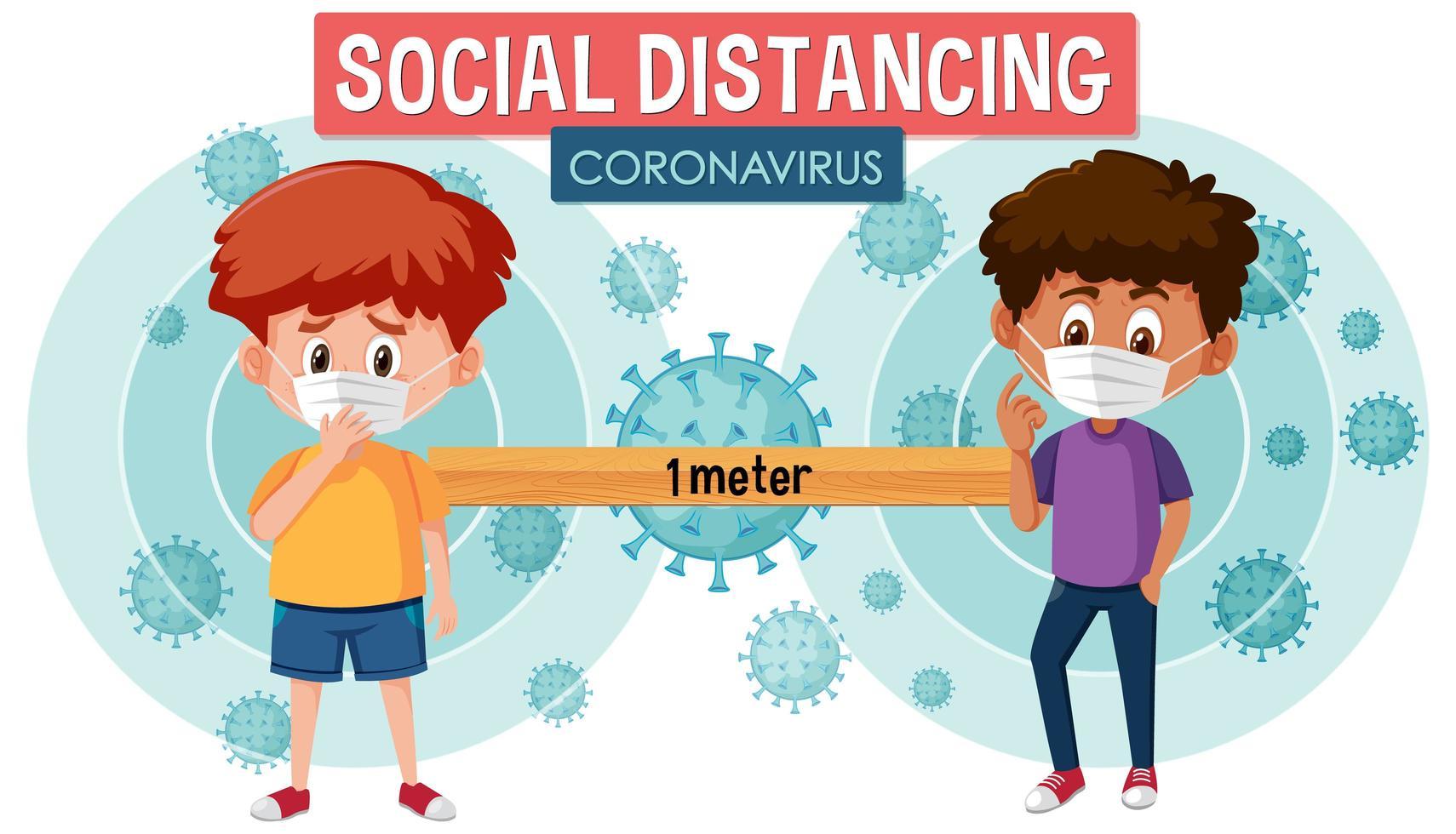 poster di social distanza con ragazzi in maschere per il viso vettore