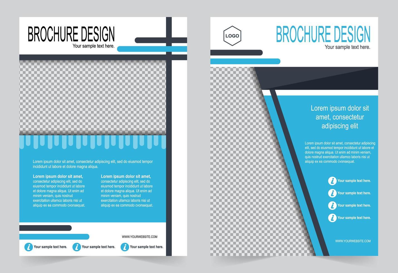 set di modelli di brochure copertina blu. vettore