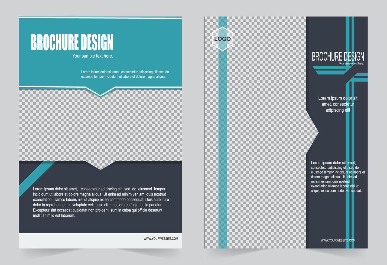 set di modelli di brochure blu e nero vettore